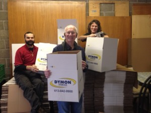 Thank you Dymon Storage for your generous donation of boxes for the Christmas Hampers.